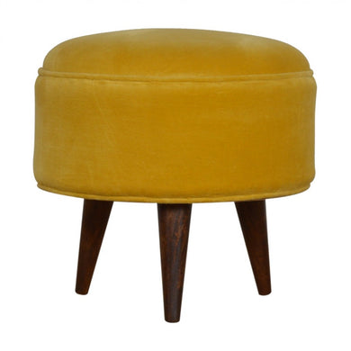 Izabella Footstool comes in a gold finish and yellow with a deco style and is available from roomshaped.co.uk
