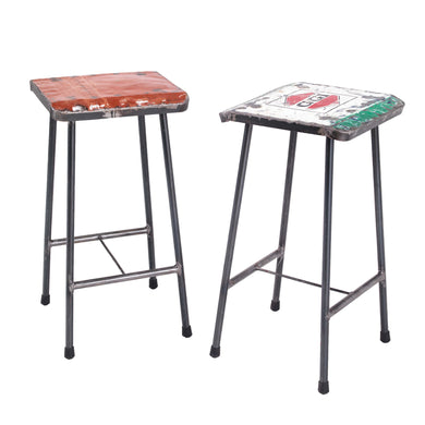 Arief Recycled Bar Stool comes in a multi-colour finish with a distressed style and is available from roomshaped.co.uk