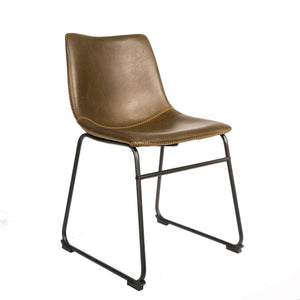 Kazimiera Dining Chair - Set of 2 comes in brown and chestnut and grey with a new industrial style and is available from roomshaped.co.uk