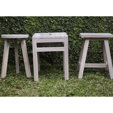Load image into Gallery viewer, Kevin Stool comes in grey and a natural finish with a city style and is available from roomshaped.co.uk