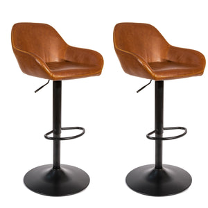 Maya Barstool - Set of 2 comes in brown and chestnut and grey with a new industrial style and is available from roomshaped.co.uk