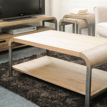 Load image into Gallery viewer, Nattapong Coffee Table comes in a natural finish with a retro classic style and is available from roomshaped.co.uk