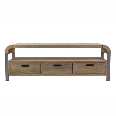 Nattapong Media Unit comes in a natural finish with a retro classic style and is available from roomshaped.co.uk