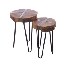 Load image into Gallery viewer, Hana Nest of Tables comes in a natural finish with a distressed style and is available from roomshaped.co.uk