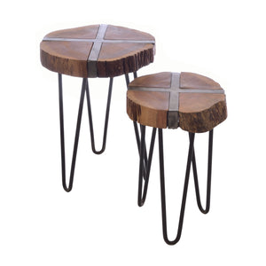 Hana Nest of Tables comes in a natural finish with a distressed style and is available from roomshaped.co.uk