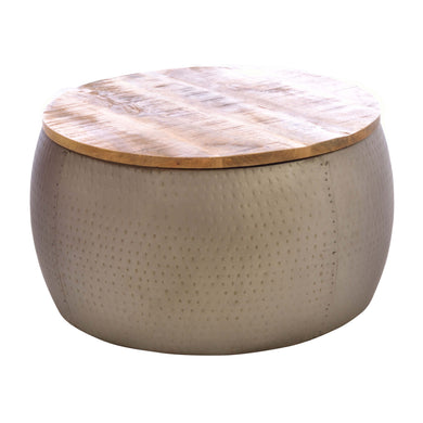 Manuel Round Coffee Table comes in a natural finish with a hammered style and is available from roomshaped.co.uk