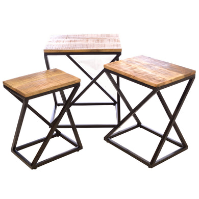Eka Nest of Tables comes in a natural finish with a distressed style and is available from roomshaped.co.uk