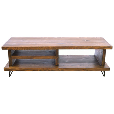 Kezia 120 TV Unit comes in a natural finish with a old pine style and is available from roomshaped.co.uk