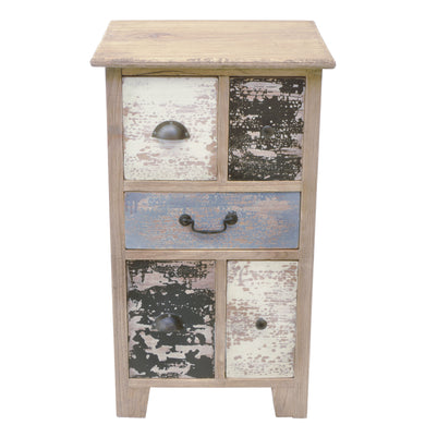 Gerard Small Chest of Drawers comes in a multi-colour finish with a distressed style and is available from roomshaped.co.uk