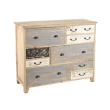 Load image into Gallery viewer, Sella Chest of Drawers comes in blue and a multi-colour finish with a distressed style and is available from roomshaped.co.uk