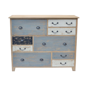 Sella Chest of Drawers comes in blue and a multi-colour finish with a distressed style and is available from roomshaped.co.uk