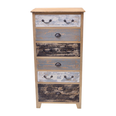 Defi 120 Chest of Drawers comes in a multi-colour finish with a distressed style and is available from roomshaped.co.uk