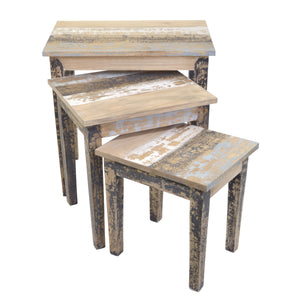 Maria Nest of Tables comes in a multi-colour finish with a distressed style and is available from roomshaped.co.uk