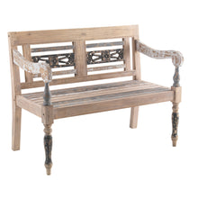 Load image into Gallery viewer, Vina Bench comes in a natural finish with a distressed style and is available from roomshaped.co.uk