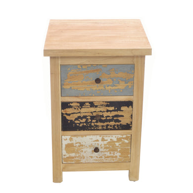Ika Bedside Table comes in a multi-colour finish with a distressed style and is available from roomshaped.co.uk