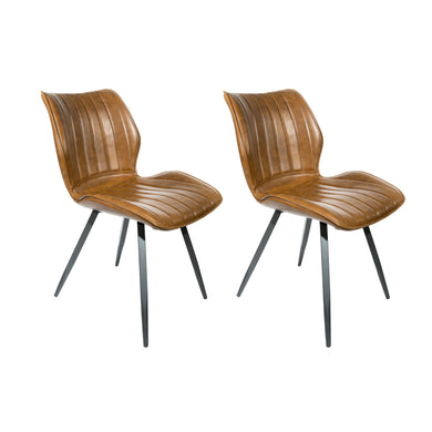 Reza Dining Chairs - Set of 2 comes in brown and grey with a new industrial style and is available from roomshaped.co.uk