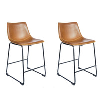 Load image into Gallery viewer, Salsabilla Stool - Set of 2 comes in brown and chestnut and grey with a new industrial style and is available from roomshaped.co.uk