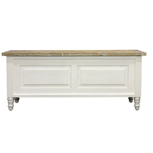 Sidony Storage Bench comes in white with a country style and is available from roomshaped.co.uk