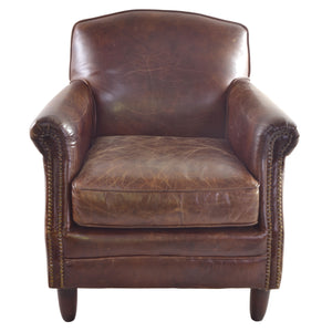 Hardi Studded Leather Chair comes in brown with a retro classic style and is available from roomshaped.co.uk