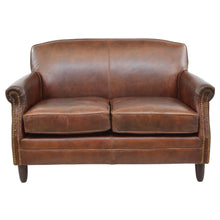 Load image into Gallery viewer, Romana 2 Seater Leather Sofa comes in brown with a retro classic style and is available from roomshaped.co.uk