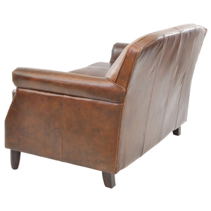 Romana 2 Seater Leather Sofa comes in brown with a retro classic style and is available from roomshaped.co.uk