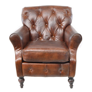 Vivian Button Back Leather Chair comes in brown with a retro classic style and is available from roomshaped.co.uk