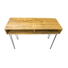 Load image into Gallery viewer, Trang Console Table comes in a natural finish with a new industrial style and is available from roomshaped.co.uk