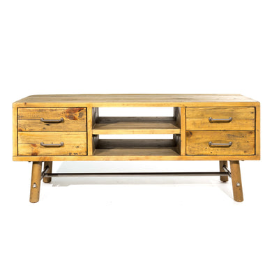 Uma Media Unit comes in a natural finish with a country style and is available from roomshaped.co.uk