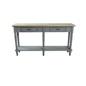 Verity 2 Drawer Console comes in grey and a natural finish with a country style and is available from roomshaped.co.uk