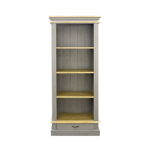 Verity Bookcase comes in grey with a country style and is available from roomshaped.co.uk