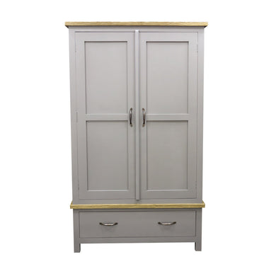 Verity Double Wardrobe comes in grey and a natural finish with a country style and is available from roomshaped.co.uk