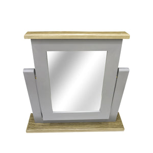 Verity Dressing Mirror comes in grey and a natural finish with a country style and is available from roomshaped.co.uk
