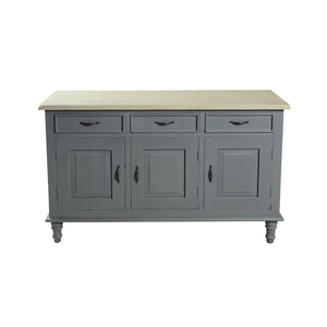 Verity Sideboard comes in grey with a country style and is available from roomshaped.co.uk