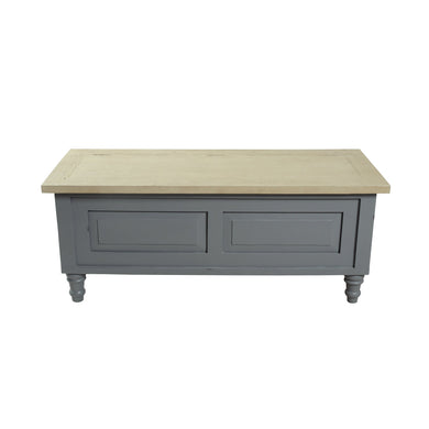 Verity Storage Bench comes in grey with a country style and is available from roomshaped.co.uk