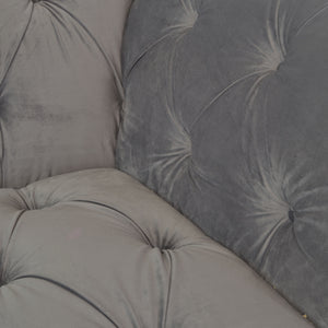 Cynthia Chesterfield Loveseat comes in grey with a luxe style and is available from roomshaped.co.uk