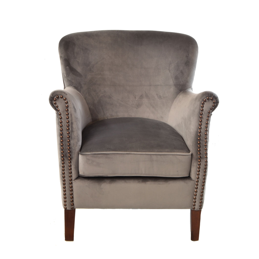 Angela Armchair comes in grey with a luxe style and is available from roomshaped.co.uk