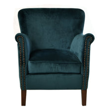 Load image into Gallery viewer, Aulia Armchair comes in blue with a luxe style and is available from roomshaped.co.uk
