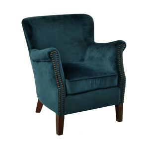 Aulia Armchair comes in blue with a luxe style and is available from roomshaped.co.uk