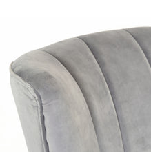 Load image into Gallery viewer, Raditya Chair comes in grey with a luxe style and is available from roomshaped.co.uk