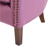 Load image into Gallery viewer, Hasna Armchair comes in pink with a luxe style and is available from roomshaped.co.uk