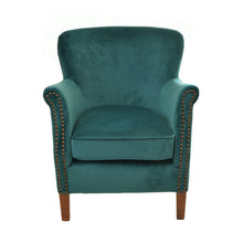 Load image into Gallery viewer, Linda Armchair comes in green with a luxe style and is available from roomshaped.co.uk