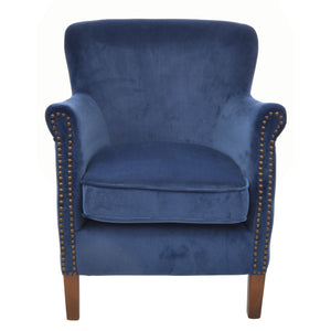Firman Armchair comes in blue with a luxe style and is available from roomshaped.co.uk