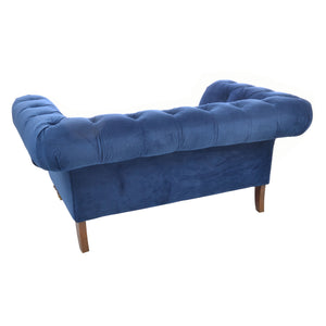 Nabila Small Chesterfield Sofa comes in blue with a luxe style and is available from roomshaped.co.uk