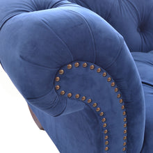 Load image into Gallery viewer, Nabila Small Chesterfield Sofa comes in blue with a luxe style and is available from roomshaped.co.uk