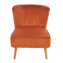Load image into Gallery viewer, Devi Chair comes in orange with a luxe style and is available from roomshaped.co.uk