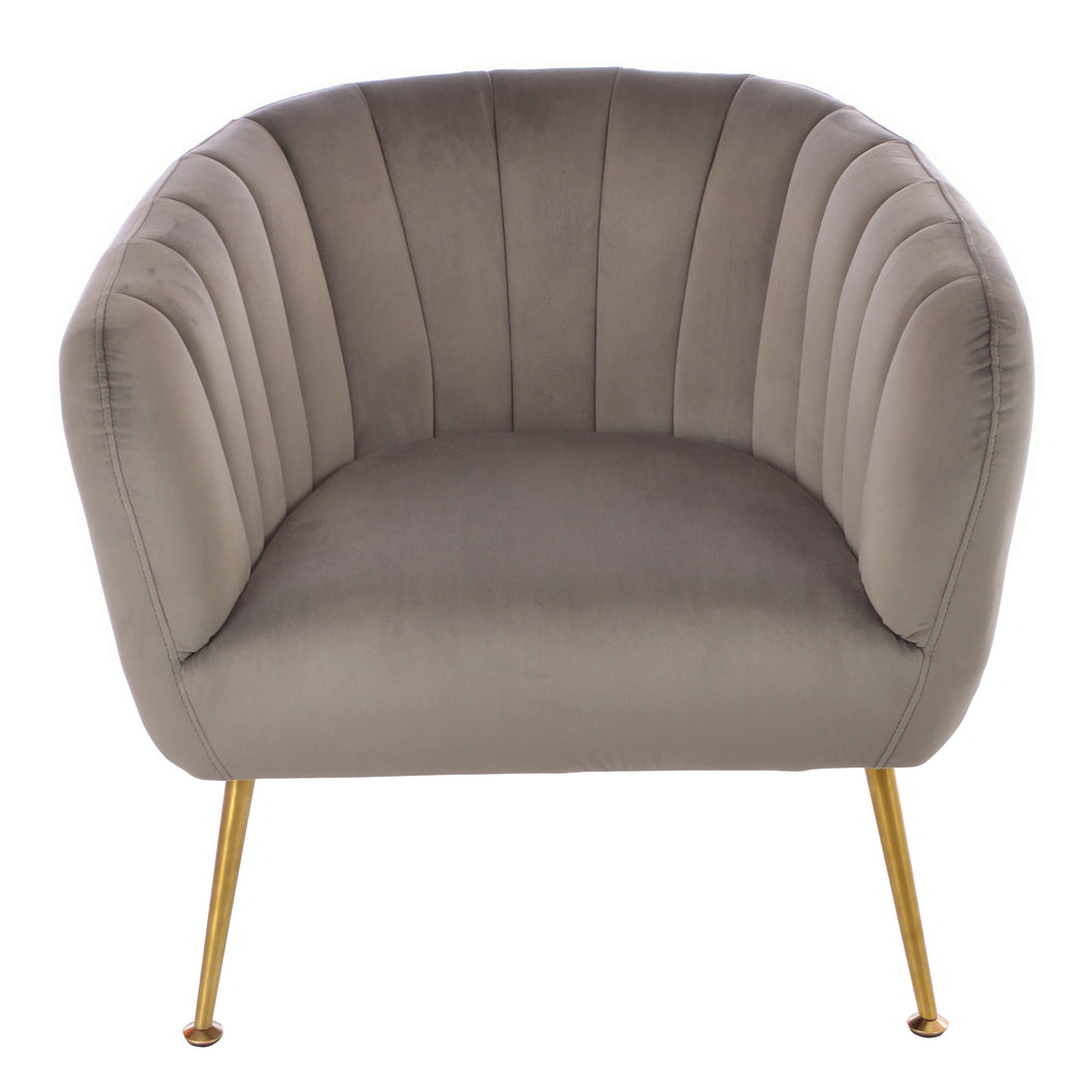Elena Tub Chair comes in grey with a luxe style and is available from roomshaped.co.uk