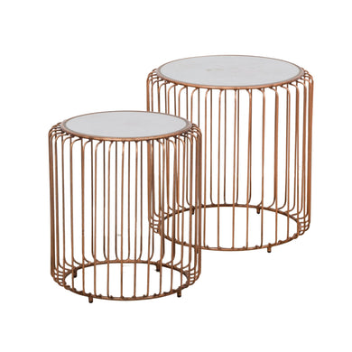 Zeta Table Nest - Copper and Ceramic comes in a copper finish with a luxe style and is available from roomshaped.co.uk
