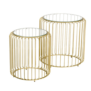 Zeta Table Nest - Gold and Glass comes in a gold finish with a gold frame style and is available from roomshaped.co.uk