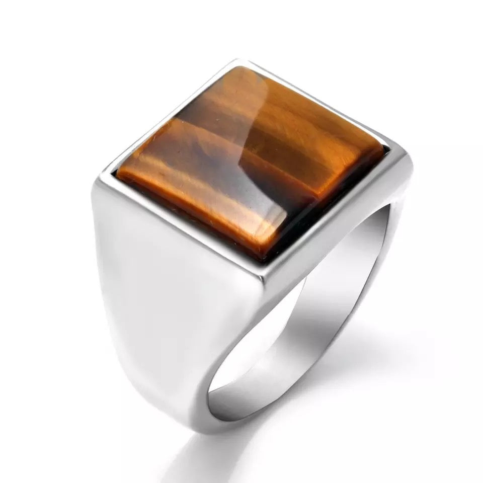 "Bague "" Tiger Eye "" Couleur Argent 