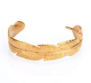 "Bracelet Femme "" Feuille d'Afrik "" Couleur Or 